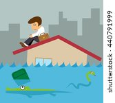 business man on roof house ... | Shutterstock .eps vector #440791999