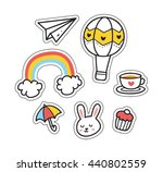 set of cute patch isolated on... | Shutterstock .eps vector #440802559