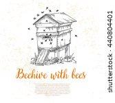 honey from beehive  wooden hive ...   Shutterstock .eps vector #440804401