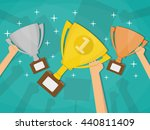 hands holding trophies winner... | Shutterstock .eps vector #440811409