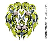 patterned colored lion head.... | Shutterstock .eps vector #440813344