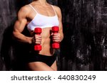 strong woman with red barbells  ...   Shutterstock . vector #440830249