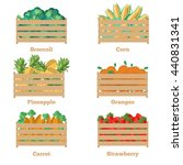 wooden box with fruits and... | Shutterstock .eps vector #440831341