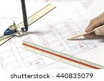 hand holding pencil point to... | Shutterstock . vector #440835079