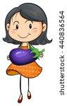 girl carrying eggplant in hands ...   Shutterstock .eps vector #440836564