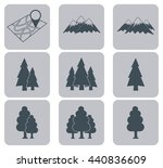 map with mountain and forest... | Shutterstock .eps vector #440836609