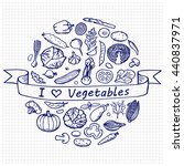 i love vegetables. vegetarian... | Shutterstock .eps vector #440837971