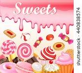 sweet dessert food frame... | Shutterstock . vector #440838574