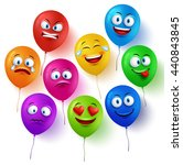 vector balloon faces colorful... | Shutterstock .eps vector #440843845