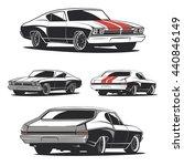 set of muscle car illustrations ... | Shutterstock .eps vector #440846149