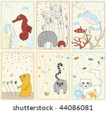 set pictures with animals | Shutterstock .eps vector #44086081
