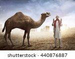 Image Of Man Praying And Camel...