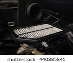 focus of old dirty air filter...   Shutterstock . vector #440885845