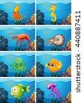 scenes with sea animals under... | Shutterstock .eps vector #440887411