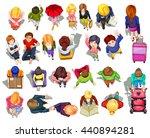 top view of people doing... | Shutterstock .eps vector #440894281