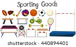 set of many sport equipments... | Shutterstock .eps vector #440894401