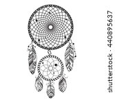 dreamcatcher hand drawn vector... | Shutterstock .eps vector #440895637