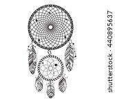 dreamcatcher hand drawn vector... | Shutterstock .eps vector #440895637