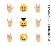 set of rock emoticon vector... | Shutterstock .eps vector #440909251