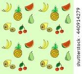 group of fresh fruit doodle.... | Shutterstock .eps vector #440914279