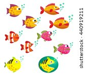 Set Of Tropical Fishes  Vector...