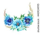 watercolor flowers peonies.... | Shutterstock . vector #440924995