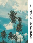 palm trees on tropical beach ... | Shutterstock . vector #440932279