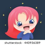 cute happy girl anime vector... | Shutterstock .eps vector #440936389