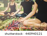 young yoga practitioners in... | Shutterstock . vector #440940121