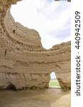 Small photo of Ruins of the great icehouse, a huge circular structure with 4 vents to circulate cool air - at the Great city of antiquity, Merv, Turkmenistan.