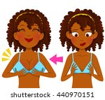 dark skinned girl before and... | Shutterstock .eps vector #440970151