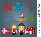 norway icons set. pixel art.... | Shutterstock .eps vector #440971864
