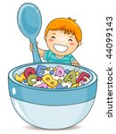 boy eating alphabet cereals  ... | Shutterstock .eps vector #44099143