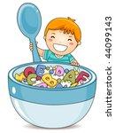 boy eating alphabet cereals  ... | Shutterstock .eps vector #44099143