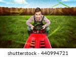 man on a lawn tractor | Shutterstock . vector #440994721