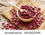 grains red bean in wooden bowl... | Shutterstock . vector #441002944