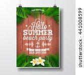 vector hello summer beach party ... | Shutterstock .eps vector #441008599