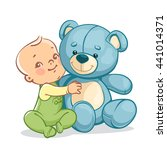 little baby boy with big toy.... | Shutterstock .eps vector #441014371