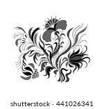 floral pattern with hand drawn...   Shutterstock . vector #441026341