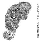 hand drawn mehendi design.... | Shutterstock .eps vector #441054487