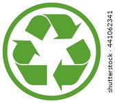 Green Recycling Sign In Circle...