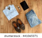 top view of stylish clothes... | Shutterstock . vector #441065371