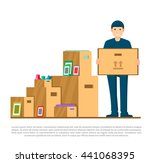 moving to new house  delivery... | Shutterstock .eps vector #441068395