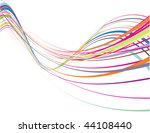 Abstract Rainbow Wave Line Wit...
