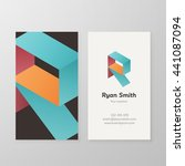 business card with isometric... | Shutterstock .eps vector #441087094