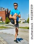 man runner athlete warming up... | Shutterstock . vector #441089359