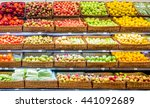 fresh fruits and vegetables on... | Shutterstock . vector #441092689
