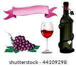 wine bottle  wine glass and... | Shutterstock . vector #44109298