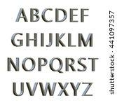 3d illustration silver alphabet | Shutterstock . vector #441097357