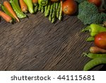 green vegetables on wood... | Shutterstock . vector #441115681